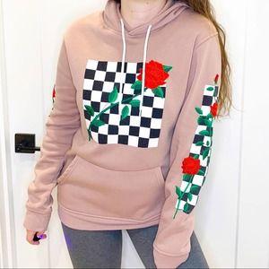 Brooklyn Cloth Pink Embroidered Rose Checkerboard Print Hoodie Sweatshirt